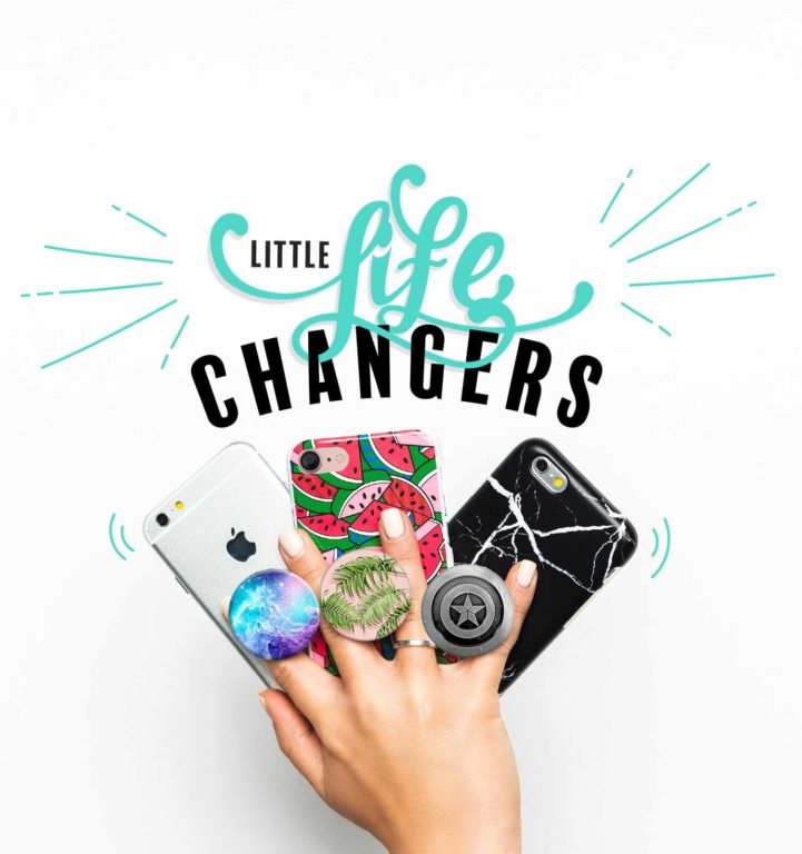 Serveral Smartphones with mounted PopSockets